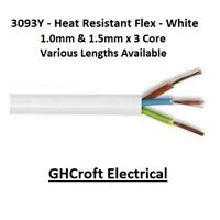 3 Core Flex White Heat Resistant Cable 3093Y 1mm² 1.5mm² - Various Lengths