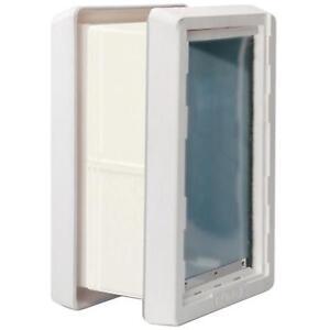 Self-Closing Dog Pet Wall Mount Frame Door Dual Flap Lockout Panel Medium Sturdy