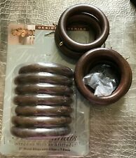 """Rings Drapery w/ Clips (14) Wood Timber Brown for 2"""" Pole / One Package / 7 Open"""