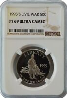 1995-S CIVIL WAR PROOF HALF DOLLAR 50c COMMEMORATIVE NGC PF69 ULTRA CAMEO