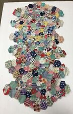"6 Vintage Material Quilt Topper Pieces 1950s - 60s Fabric 15"" x 9"""