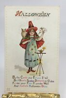 Halloween Potcard Girl Witch Magic Tricks Owl Vintage Embossed P217