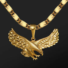 """Mens 24ct Yellow Gold Filled Eagle Pendants Necklace Chain Jewellery Gift 24"""""""