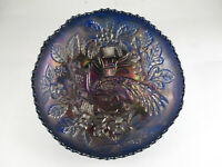 "ANTIQUE FENTON PEACOCK AND URN CARNIVAL GLASS BOWL, AMETHYST/BLUE, 8"" x  2 1/2"""