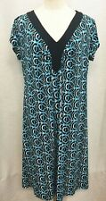 "Chicos 2/44"" Dress Blue Black White Swirls Stretch Poly Spandex V Neck Cap Slvs"