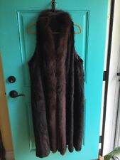 Womens Long Sheared Brown Fur Vest w Fox Trim  & Toggle Closures Size M