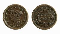 s283_36) USA - Braided Hair Cents 1854 1 C