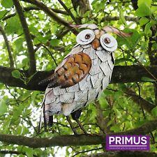 Primus Hand Crafted White Metal Owl Garden Bird Ornament Sculpture Gift