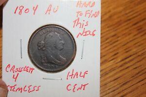1804   CROSSLET 4 STEMLESS   AU   HALF CENT