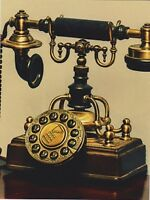 """*Postcard-""""The Brass Antique Telephone"""" /Picture on a Postcard/"""
