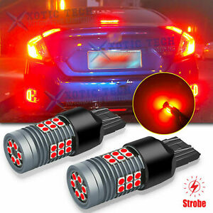 2x 7443 7443NA LED Strobe Blinking Flashing Brake Light Bulbs Safety Warning RED