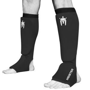 MEISTER ELASTIC CLOTH SHIN & INSTEP GUARDS - Muay Thai MMA Taekwondo Leg Pads
