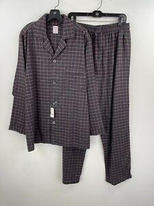 Brooks Brothers Medium PJ Pajama 2 Piece Set Mens Black Plaid Cotton NWT B38-07