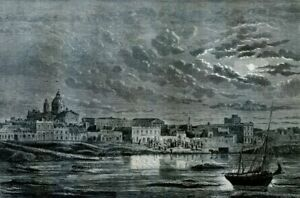 Argentina, view of Buenos Aires......Antique engraving  1860