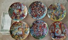 "Bill Bell ""Holiday Cats""  set of Six Plates"