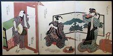 """Utagawa KUNISADA """"Scène avec trois personnages [...]"""", Gravure sur bois."""