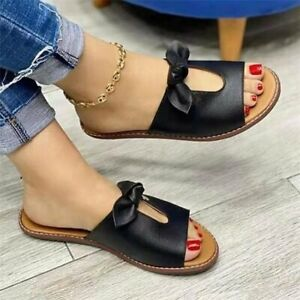 Women Flat Slip-On Bow Knot Slippers Fashion Casual Sandals Slides Summer Shoes