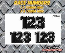 3 x Hi-bond, Laminated Race Number Stickers Decals Motocross Kart MX BMX Enduro