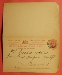 DR WHO 1909 LEVANT H&G R18 DOUBLE POSTAL CARD BRITISH POST OFFICE  184139