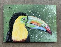 Original ACEO Miniature Acrylic Painting, Bird, Toucan, Abstract , Expressionism