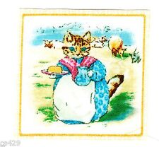 "2.5"" Beatrix potter cat kittens square nursery wall safe fabric decal cut"