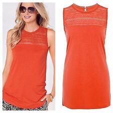 Kaleidoscope Size 10 Orange Lace Panel Sleeveless Summer TOP Holiday New Crochet