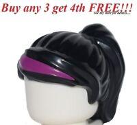 ☀️NEW Lego Minifig Hair Female Girl Black Ponytail With Bangs Pink Magenta