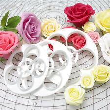 6pcs/set Fondant Cake Rose Flower Decor Cookie Mold Gum Paste Cutter Tool DIY