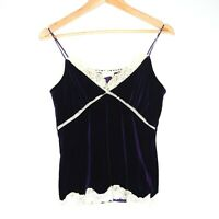 Retro Girl Purple Velvet Style Womens Camisole Lace Top Cami One Size Festival