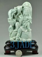 Certified Carved Natural Jadeite Jade Carving/Sculpture: Kwan Yin/Guanyin Statue
