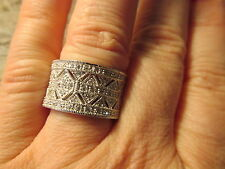 Sterling Silver Micro Pave CZ Filigree Vintage Look Cigar Band Wide Ring  Size 8