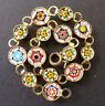 Vintage Victorian Micro Mosaic Millefiori Flower Link Bracelet Antique Italian