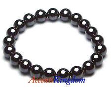 "Accents Kingdom Men's Magnetic Hematite Round Beads Bracelet 8.5"""