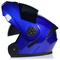 DOT Motorcycle Modular Flip Up Helmet Full Face Dual Visor Motocross Street Blue