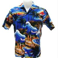 Royal Creations Men's Hawaiian Aloha Shirt Surfboard Woodie Station Wagon Size S