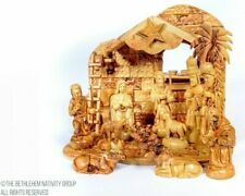 12 Pieces individually Hand Crafted Olive Wood Musical Nativity Set + Free Camel