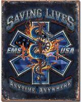 EMS Saving Lives Metal Tin Sign Home Bar Shop Wall Decor New Paramedic