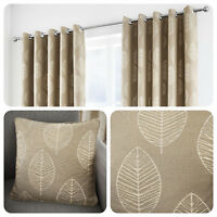 Curtina HELSINKI Natural Beige Ready Made Eyelet Curtains & Cushions