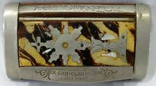 VINTAGE WOOD SNUFF BOX LA SAN-CLAUDIENNE DEPOSEE FEATURING A RELIGIOUS FIGURE
