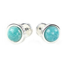 TIFFANY & CO. Sterling Silver Amazonite Groove Cufflinks $500 NEW