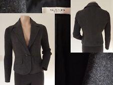 Sand White Jacke Blazer Damen Eleganz gerippte Ärmel Knopf Wolle Grau S Wie Neu