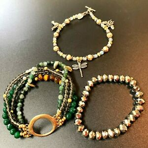 Lot x 3 Assorted BOHO Glass & Crystal Beaded Bracelets - Excellent Condition