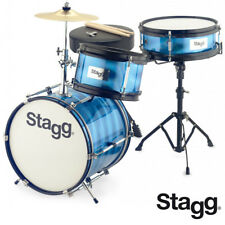 Stagg TIM-312JR Ultra Deluxe Retro Style Kids Drum Set - BLUE + Sticks, Cymbals