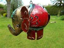 Elefante TEA LIGHT portacandele ELEFANTE in Metallo Appeso Lanterna-Rosso Elefante