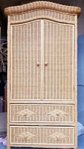 Vintage wicker wardrobe, rattan armoire with drawers, bohemian, boho, rustic.