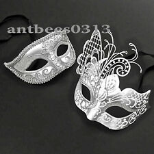 His & Her Silver Metal Butterfly & Eye Masquerade Ball wedding Prom Party Masks