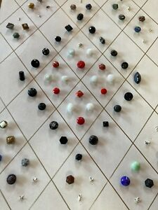 Huge Lot Of 60+ Vintage Diminutive Glass Buttons On Collector Card Colorful Mix