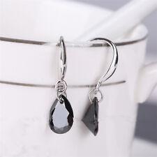 Girls Fashion Jewelry Zircon Crystal Eardrop Silver Water Drop Earrings black