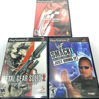 PS2 Lot of 3 Games Metal Gear Solid Smackdown Gran Turismo