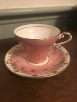 Aynsley Corset Shape Tea Cup And Saucer Pink With Gold Trim